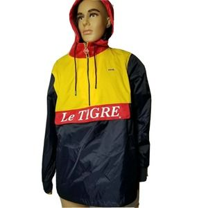 Le Tigre Pullover Rain Coat Jacket Spellout Color Block New NWT Hooded Mens Med.